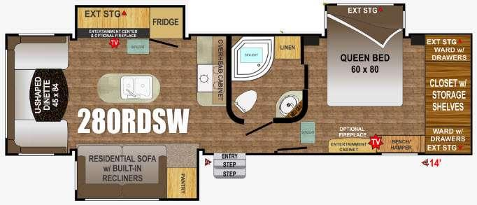Floorplan - 2016 Outdoors RV Wind River 280RDSW