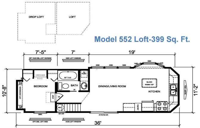 Floorplan - 2017 Athens Park Homes Athens Park Series 552 Loft