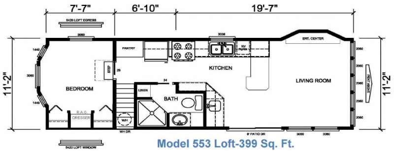 Floorplan - 2017 Athens Park Homes Athens Park Series 553 Loft