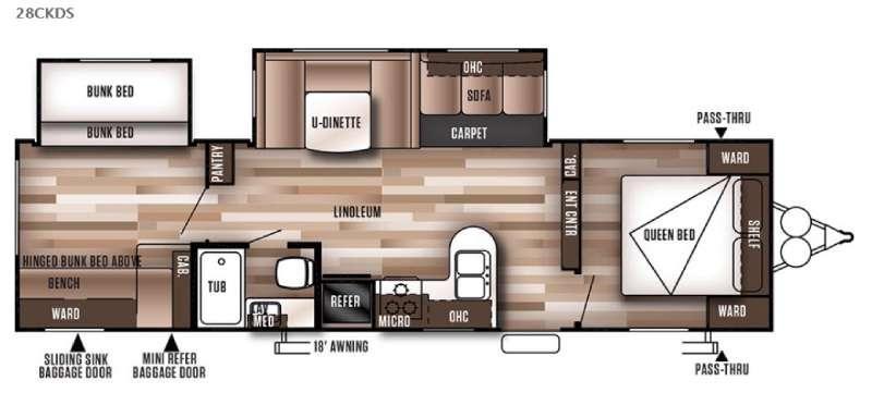 Wildwood 28CKDS Floorplan Image