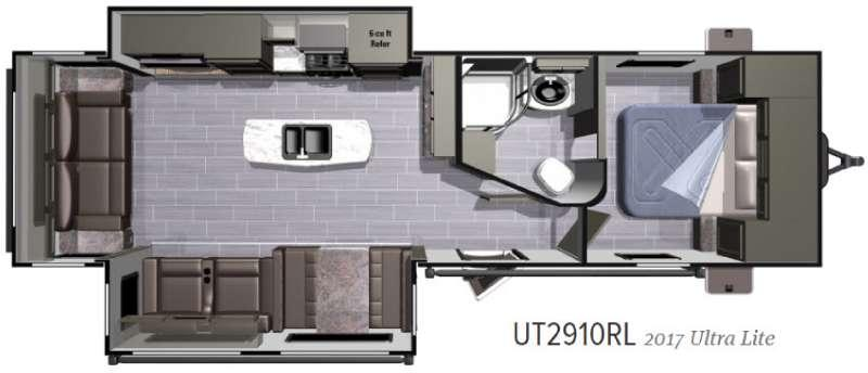 Floorplan - 2017 Highland Ridge RV Open Range Ultra Lite UT2910RL