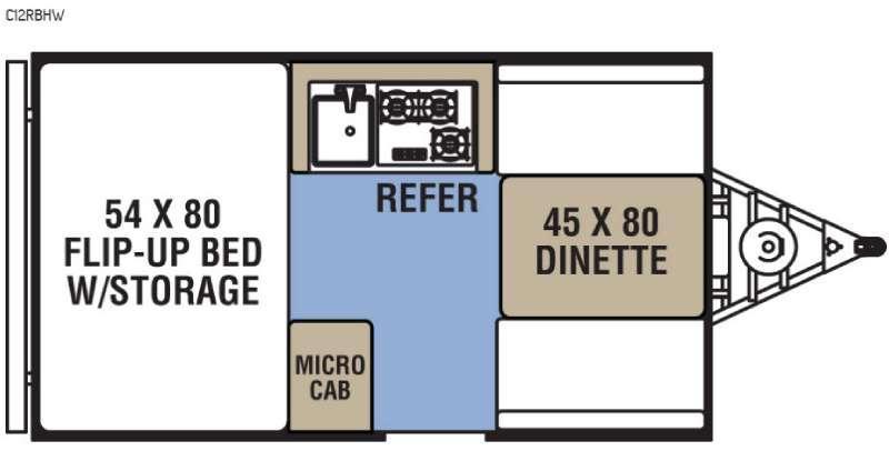 Clipper Camping Trailers C12RBHW Floorplan Image