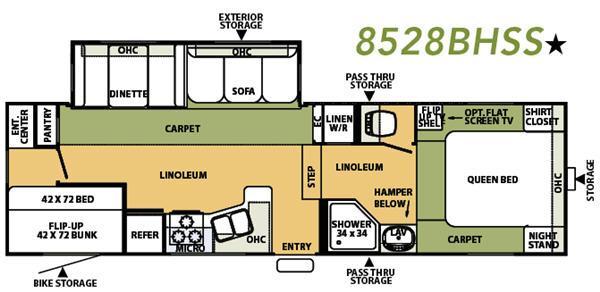 Floorplan - 2007 Forest River RV Flagstaff 8528BHSS
