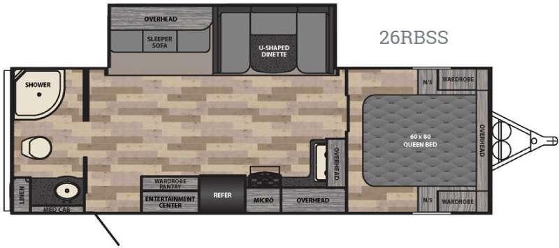 Floorplan - 2017 Winnebago Industries Towables Ultralite 26RBSS