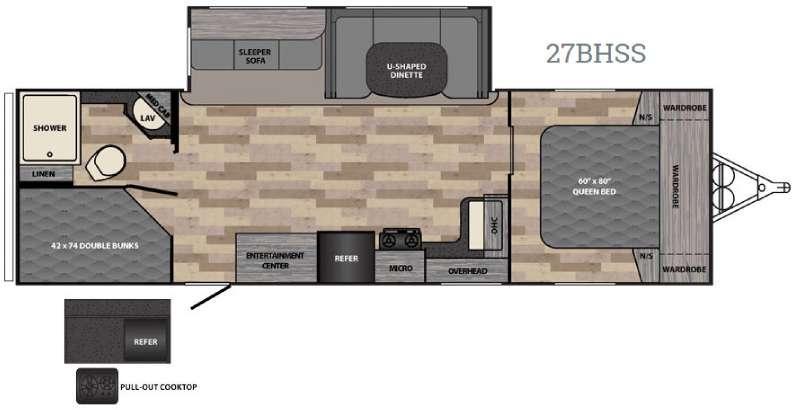 Floorplan - 2017 Winnebago Industries Towables Ultralite 27BHSS