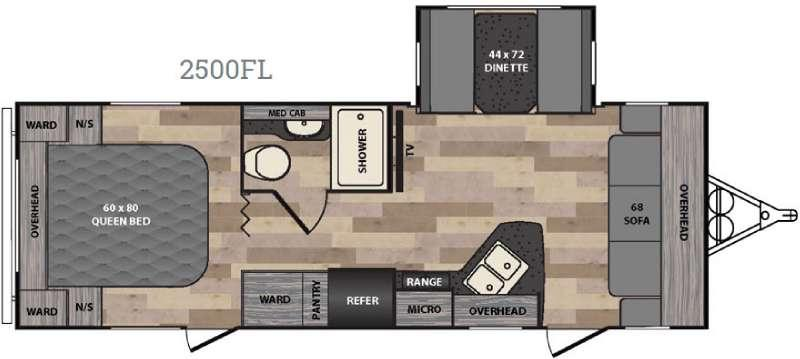 Floorplan - 2016 Winnebago Industries Towables Minnie 2500 FL