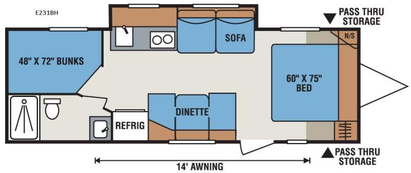 Floorplan - 2017 KZ Spree Escape E231BH