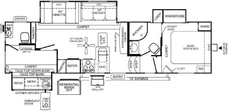 Rockwood Signature Ultra Lite 8301WS Floorplan Image