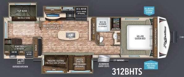 Floorplan - 2017 Grand Design Reflection 312BHTS