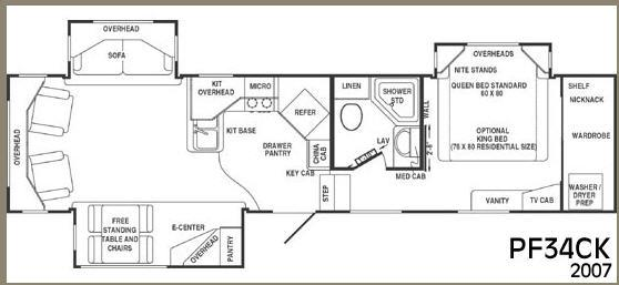 Floorplan - 2007 CrossRoads RV Paradise Pointe PF34CK