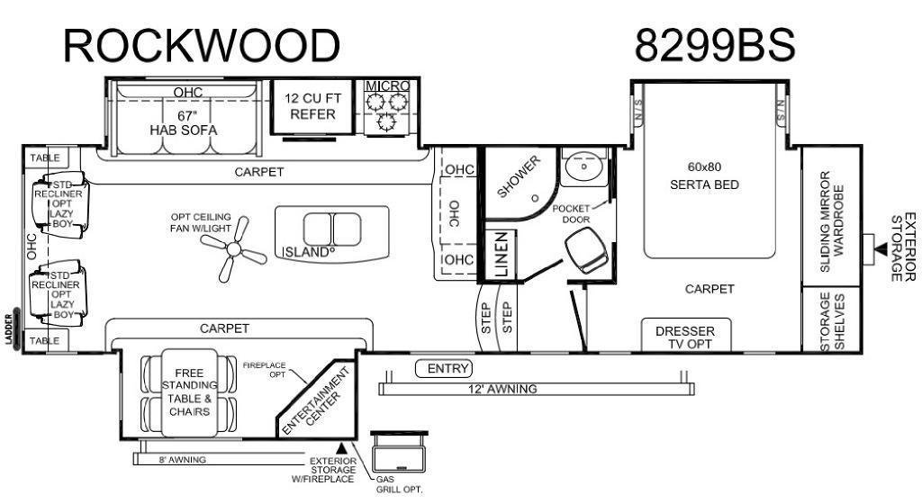 Rockwood Signature Ultra Lite 8299BS Floorplan Image