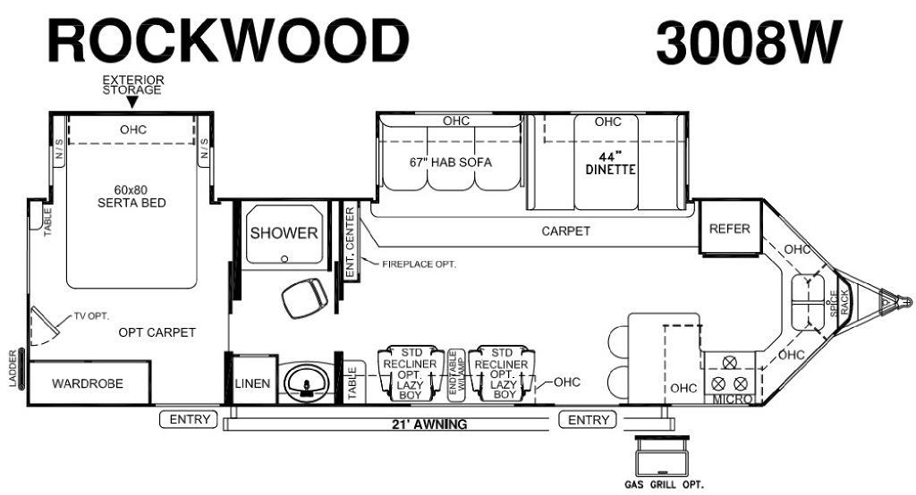 Rockwood Wind Jammer 3008W Floorplan Image