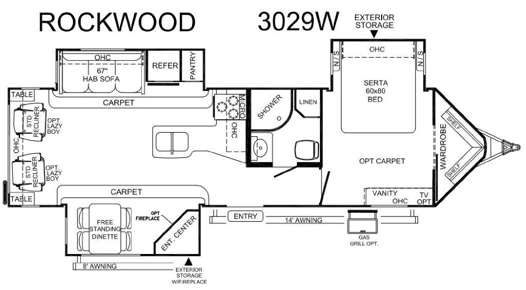 Rockwood Wind Jammer 3029W Floorplan Image