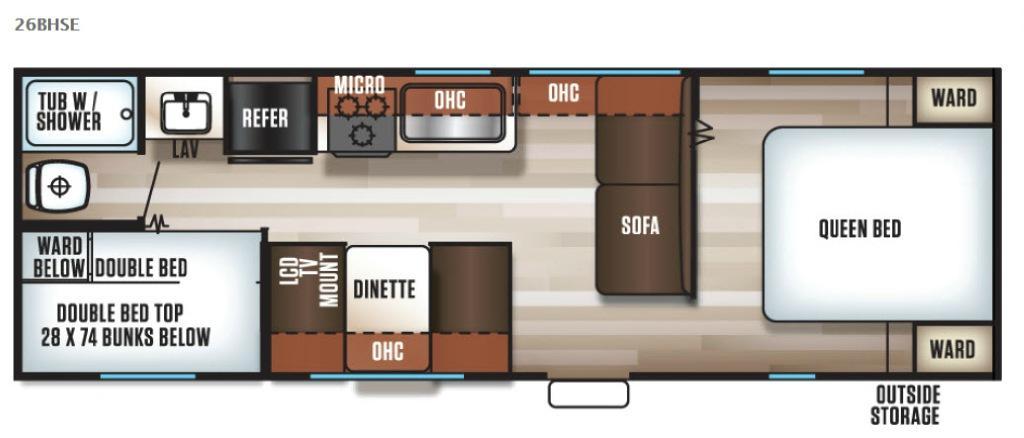 Cherokee Grey Wolf 26BHSE Floorplan Image