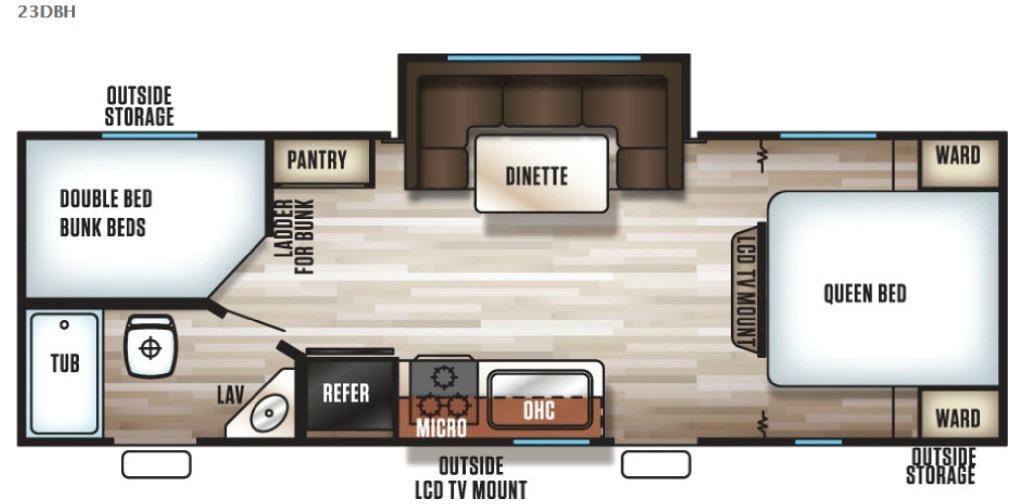 Cherokee Grey Wolf 23DBH Floorplan Image