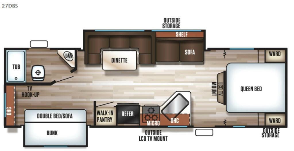 Cherokee Grey Wolf 27DBS Floorplan Image