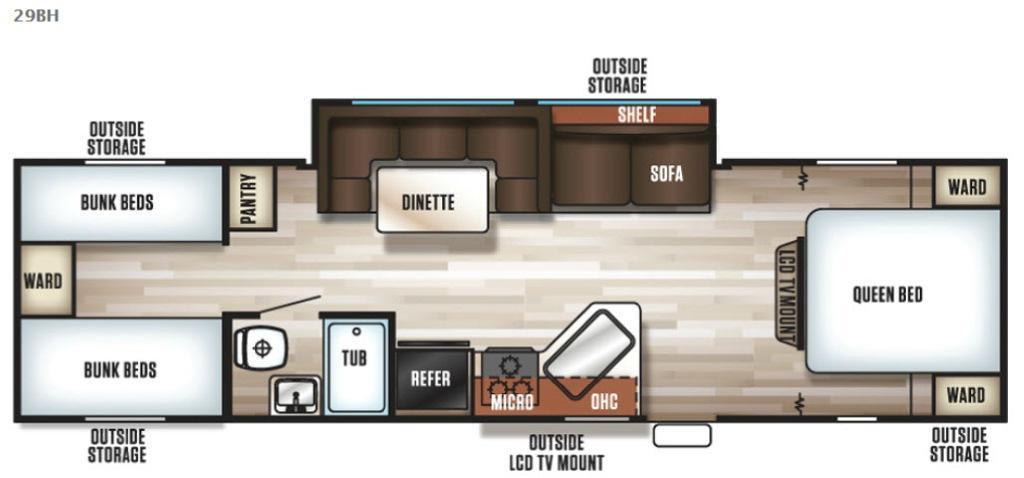 Cherokee Grey Wolf 29BH Floorplan Image