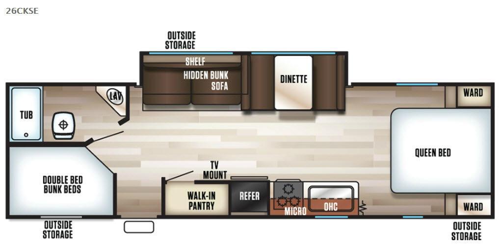 Cherokee Grey Wolf 26CKSE Floorplan Image