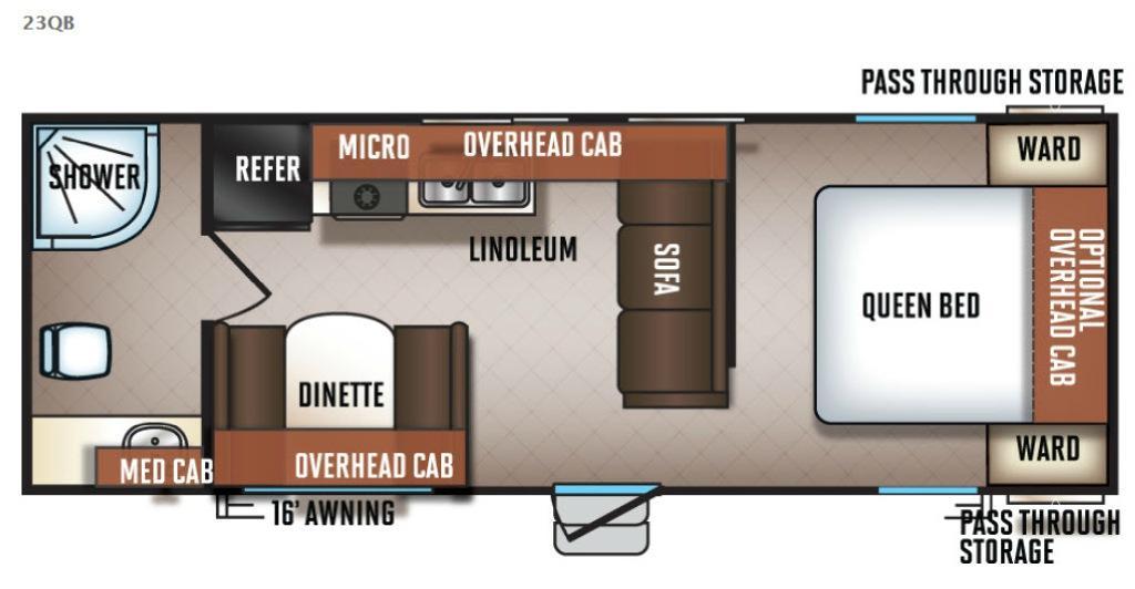 Cherokee Grey Wolf 23QB Floorplan Image