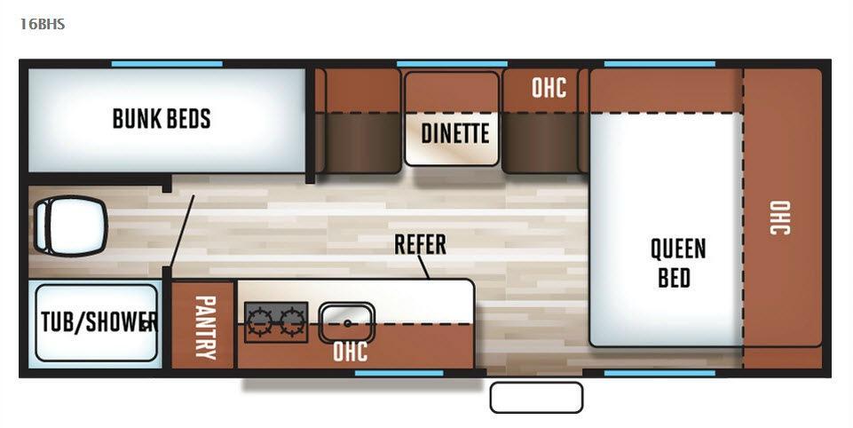Cherokee Wolf Pup 16BHS Floorplan Image