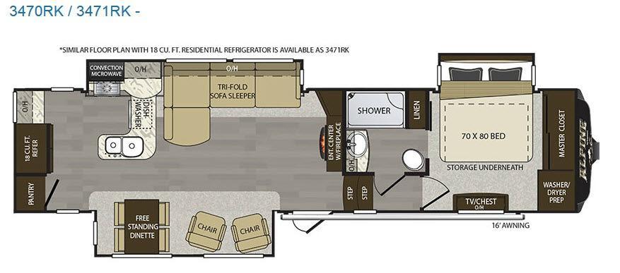 Alpine 3470RK Floorplan Image