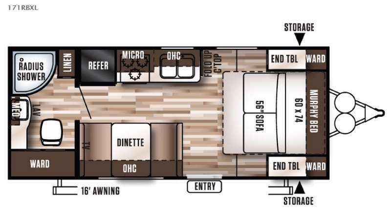 Wildwood X-Lite 171RBXL Floorplan Image