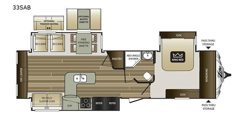 Cougar X-Lite 33SAB Floorplan Image