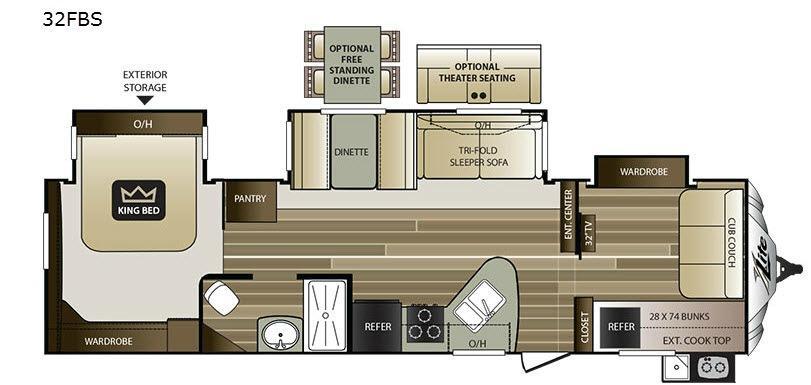 Cougar X-Lite 32FBS Floorplan Image