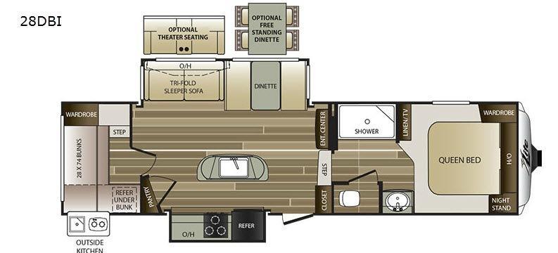 Cougar X-Lite 28DBI Floorplan Image