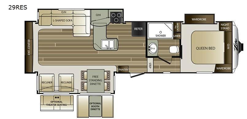 Cougar X-Lite 29RES Floorplan Image