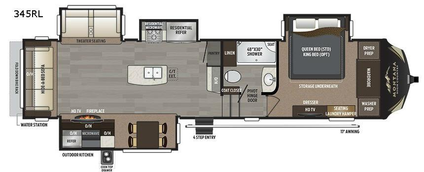 Montana High Country 345RL Floorplan Image