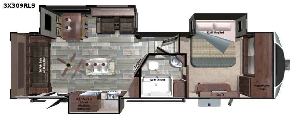 Open Range 3X 309RLS Floorplan Image