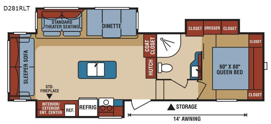 Durango 1500 D281RLT Floorplan Image