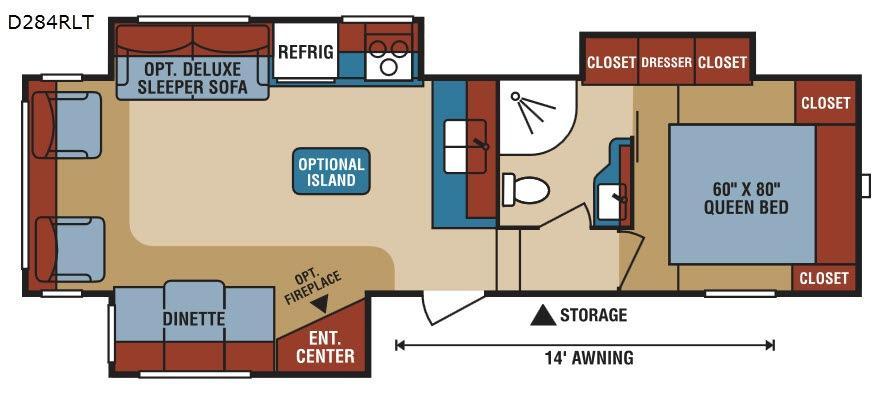 Durango 1500 D284RLT Floorplan Image