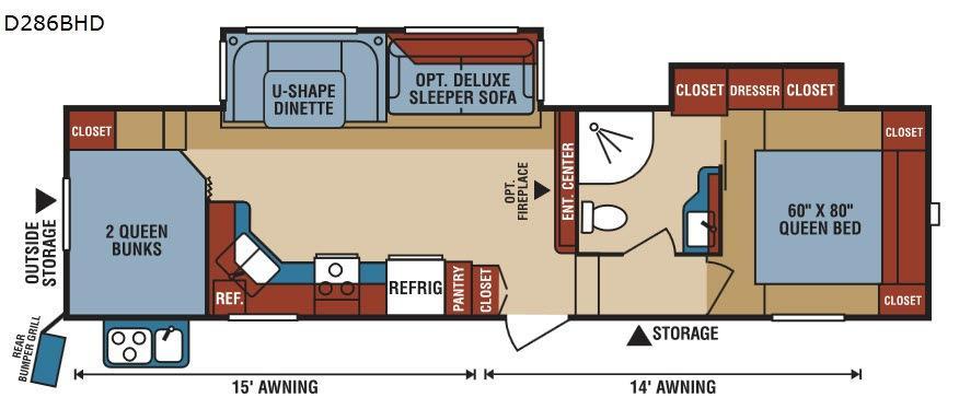 Durango 1500 D286BHD Floorplan Image