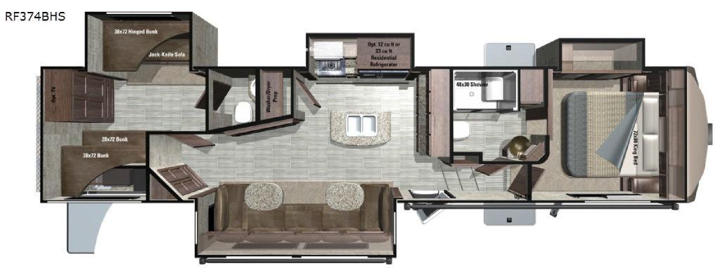 Open Range Roamer RF374BHS Floorplan Image