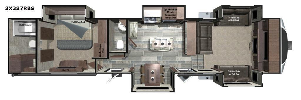 Open Range 3X 387RBS Floorplan Image