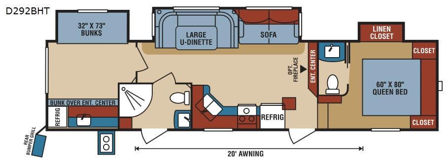 Durango 1500 D292BHT Floorplan Image