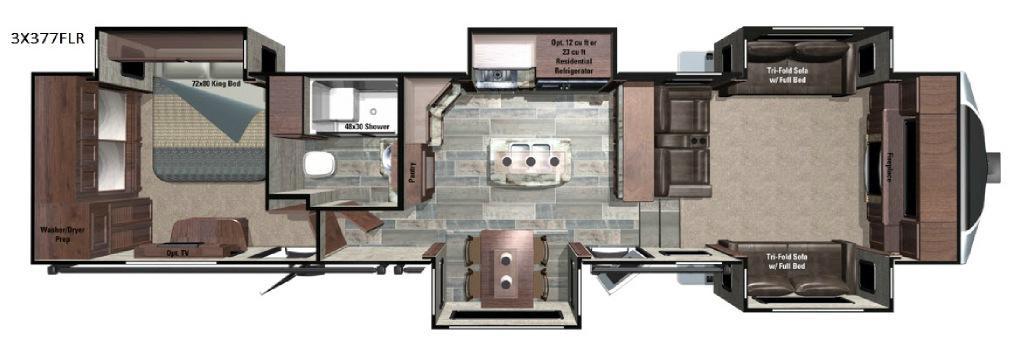 Open Range 3X 377FLR Floorplan Image