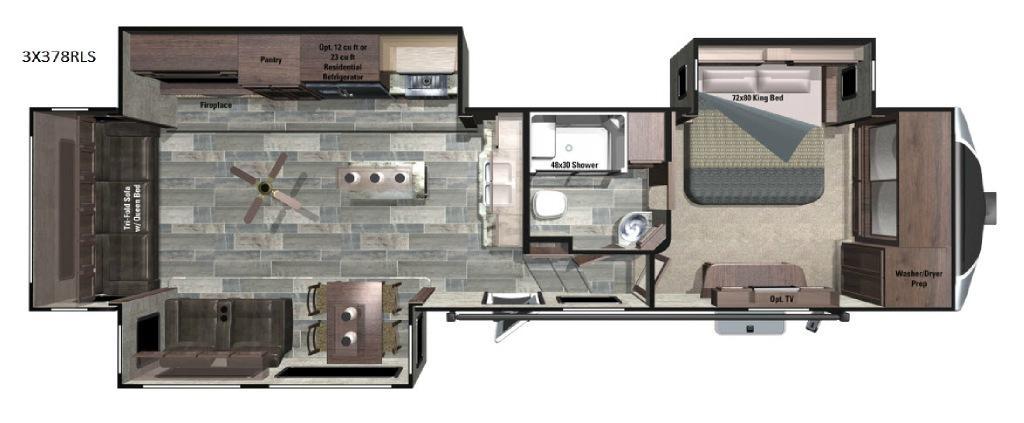 Open Range 3X 378RLS Floorplan Image