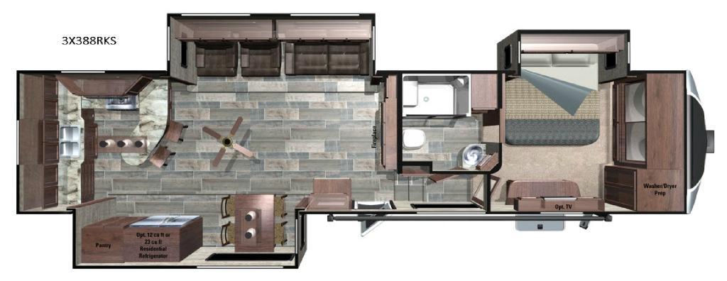 Open Range 3X 388RKS Floorplan Image