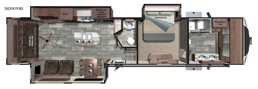 Open Range 3X 397FBS Floorplan Image