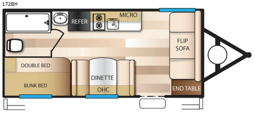 Wildwood X Lite FS 172BH Floorplan Image