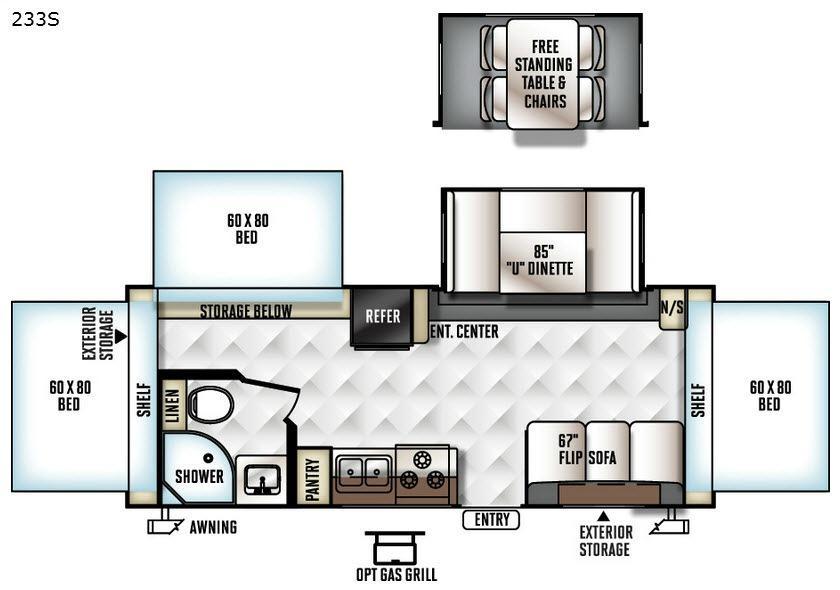 Rockwood Roo 233S Floorplan Image