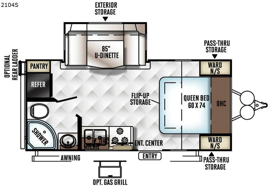 Rockwood Mini Lite 2104S Floorplan Image