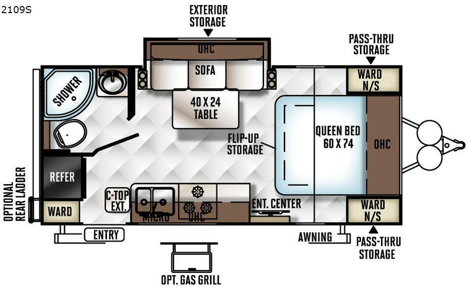 Rockwood Mini Lite 2109S Floorplan