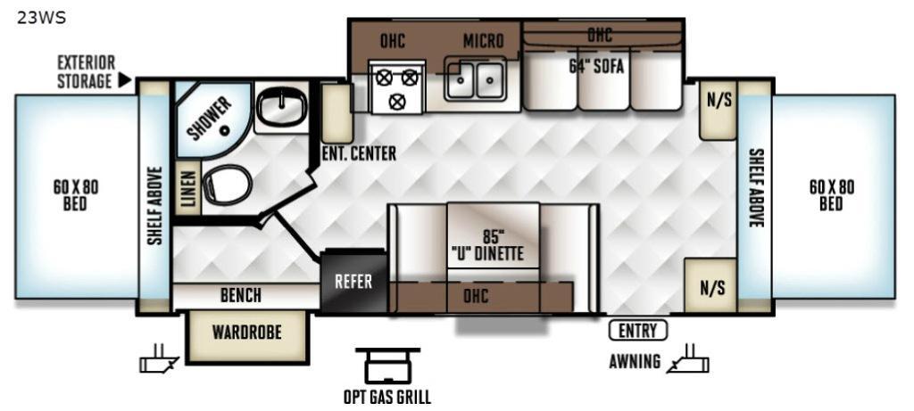 Rockwood Roo 23WS Floorplan Image