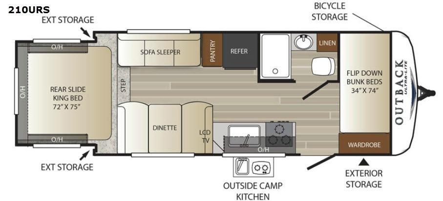 Outback Ultra Lite 210URS Floorplan Image