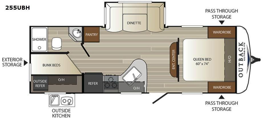 Outback Ultra Lite 255UBH Floorplan Image