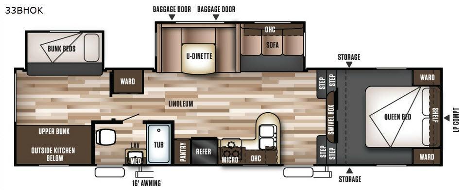 Wildwood 33BHOK Floorplan Image